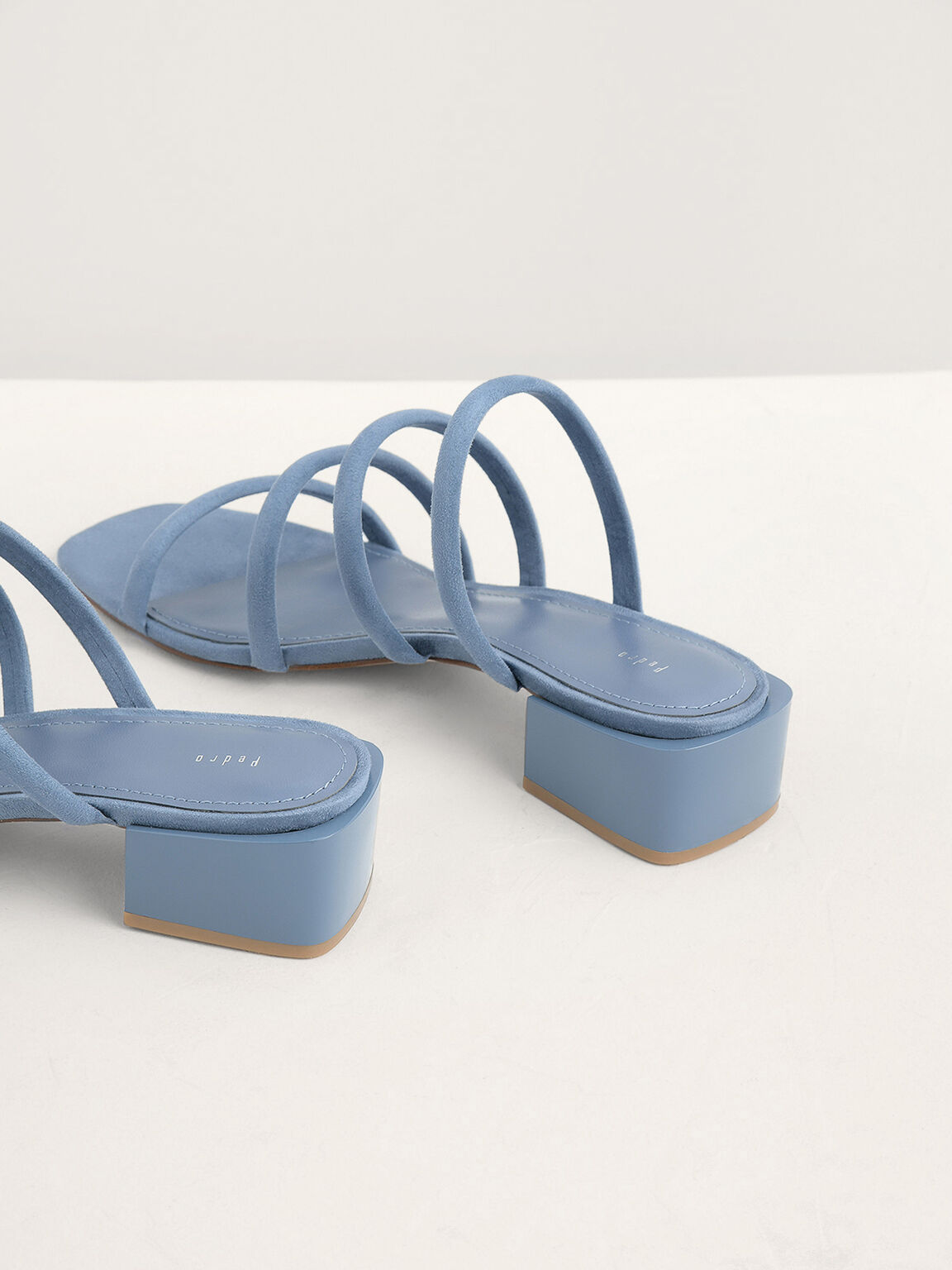 Suede Strappy Mules, Light Blue, hi-res