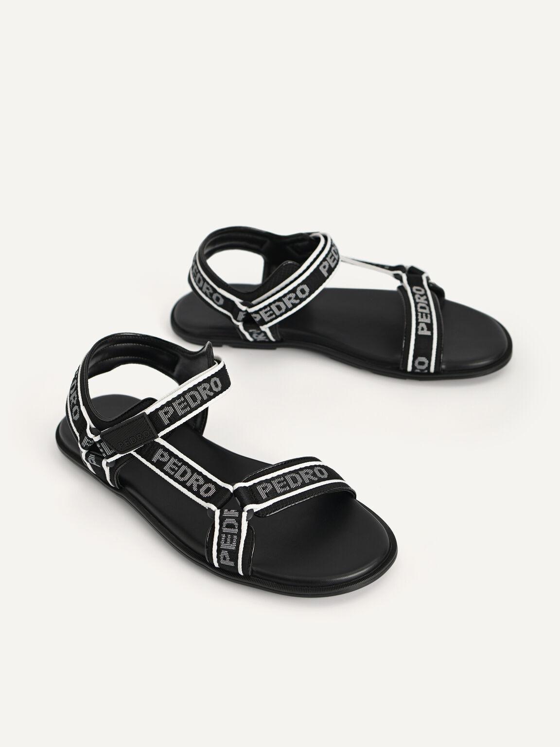 Nylon Velcro Sandals, Black, hi-res