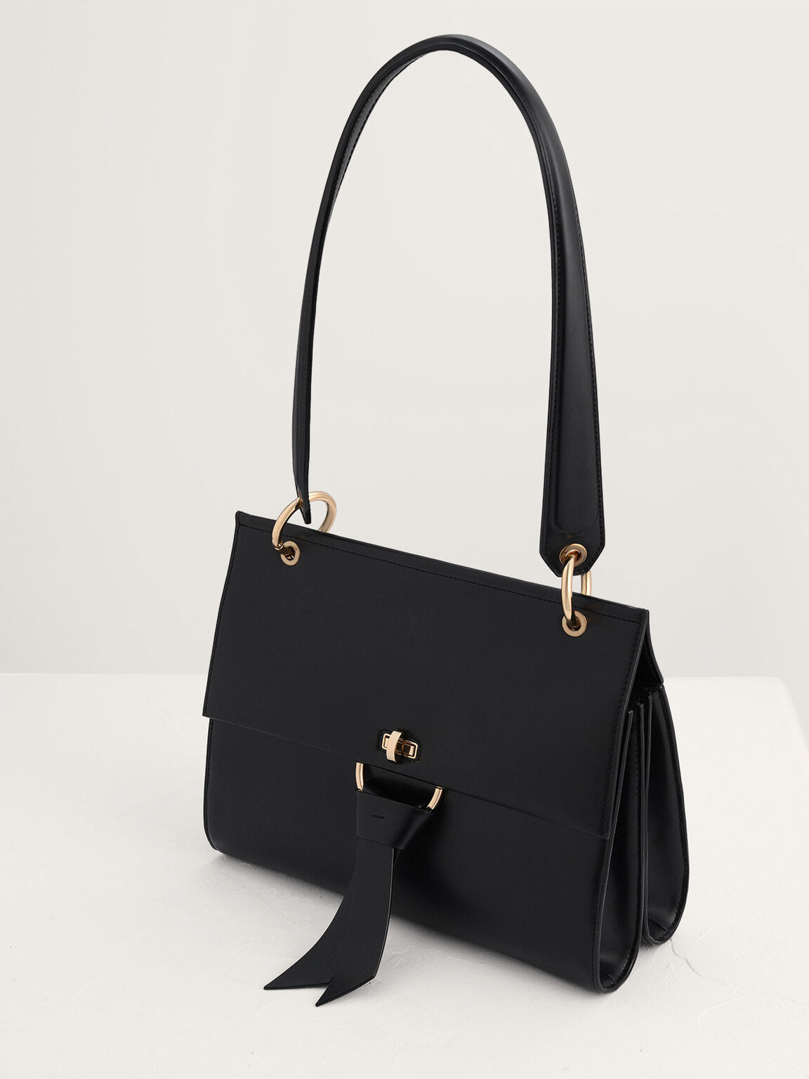 Shoulder Bag with Knotted Detail, Black, hi-res