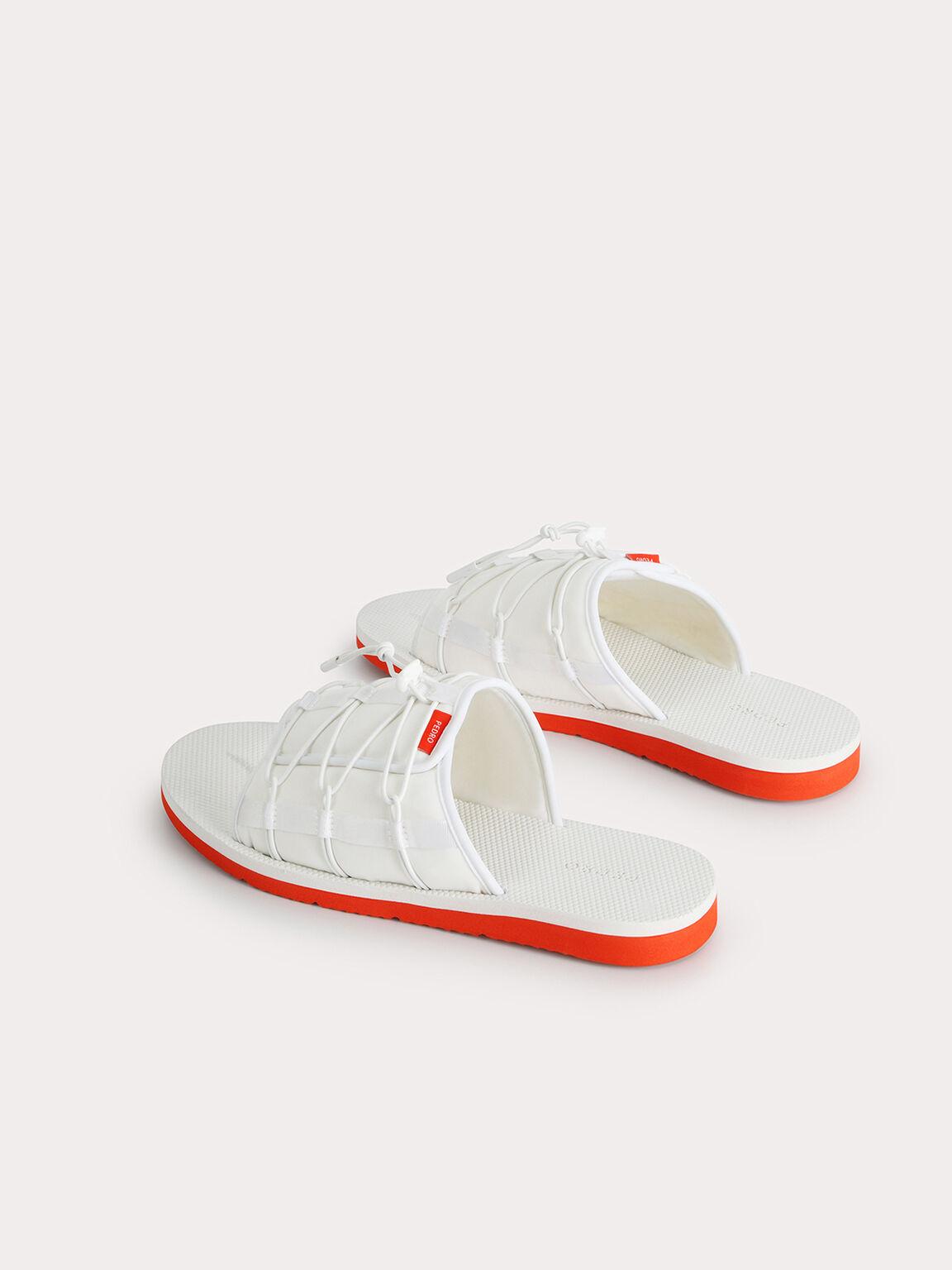 Nylon Slip-On Sandals, White, hi-res
