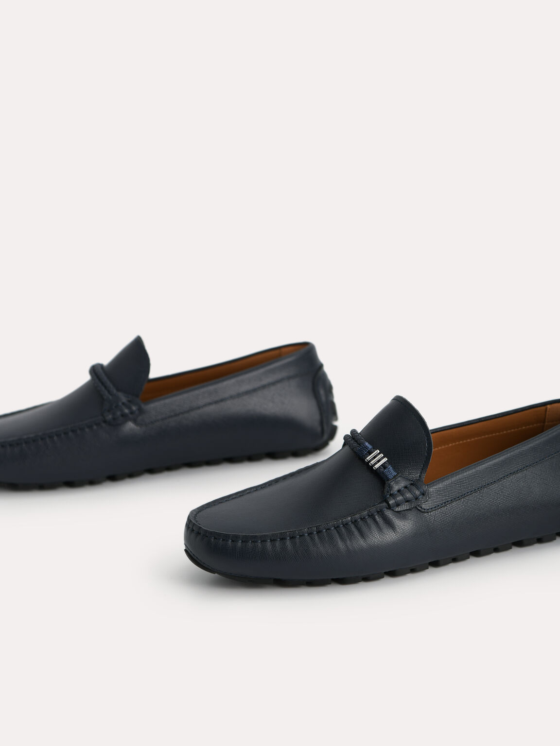 Leather Moccasins with Rope Detailing, Navy, hi-res