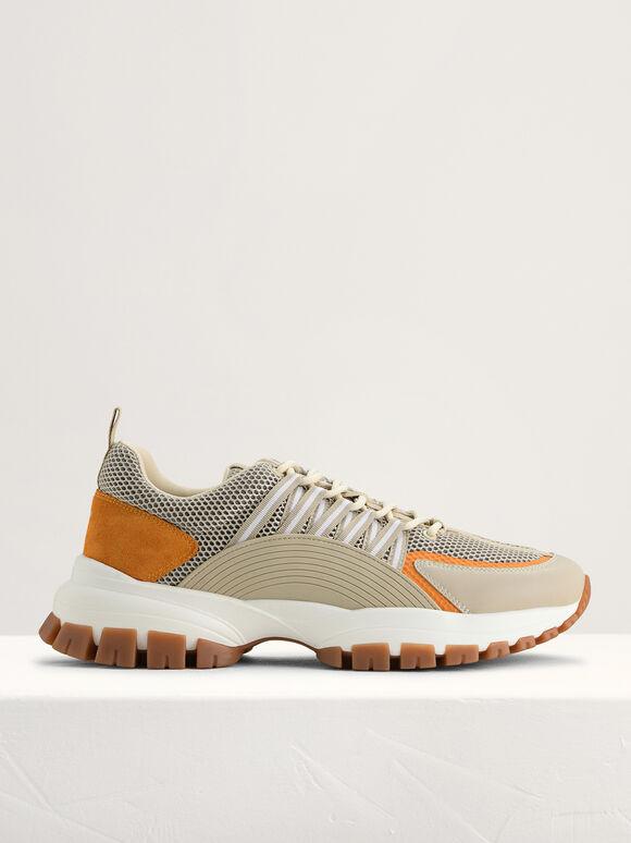 Mesh Chunky Sneakers, Beige, hi-res