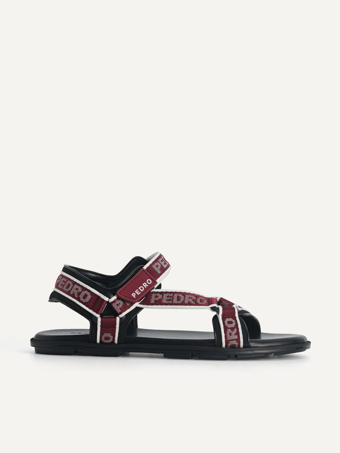 Nylon Velcro Sandals, Maroon, hi-res