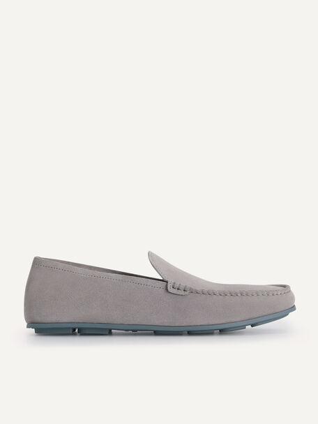 Suede Loafers, Light Grey, hi-res