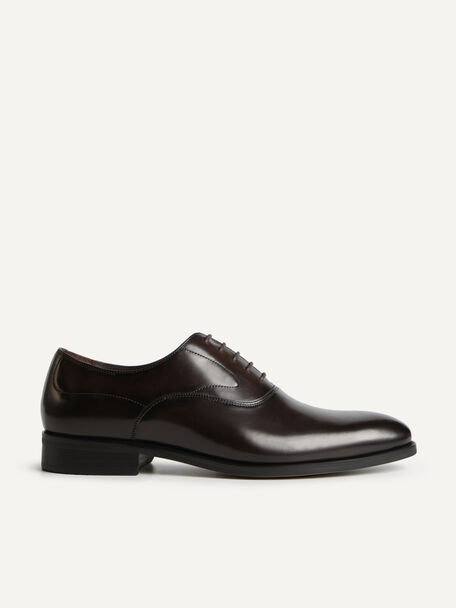 Leather Pointed Round Toe Oxfords, Dark Brown, hi-res