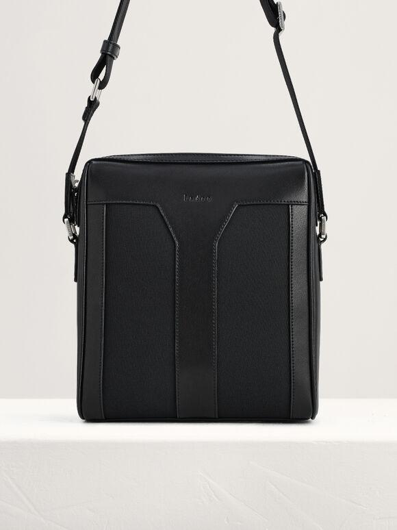 Leather Sling Bag, Black, hi-res
