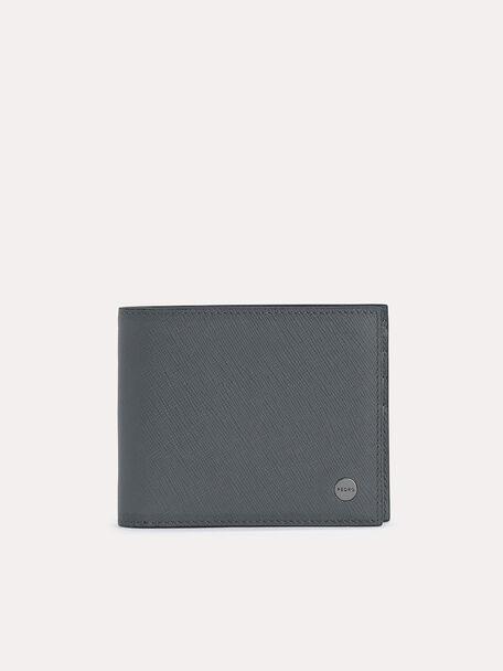 Leather Bi-Fold Wallet with Insert, Dark Grey, hi-res