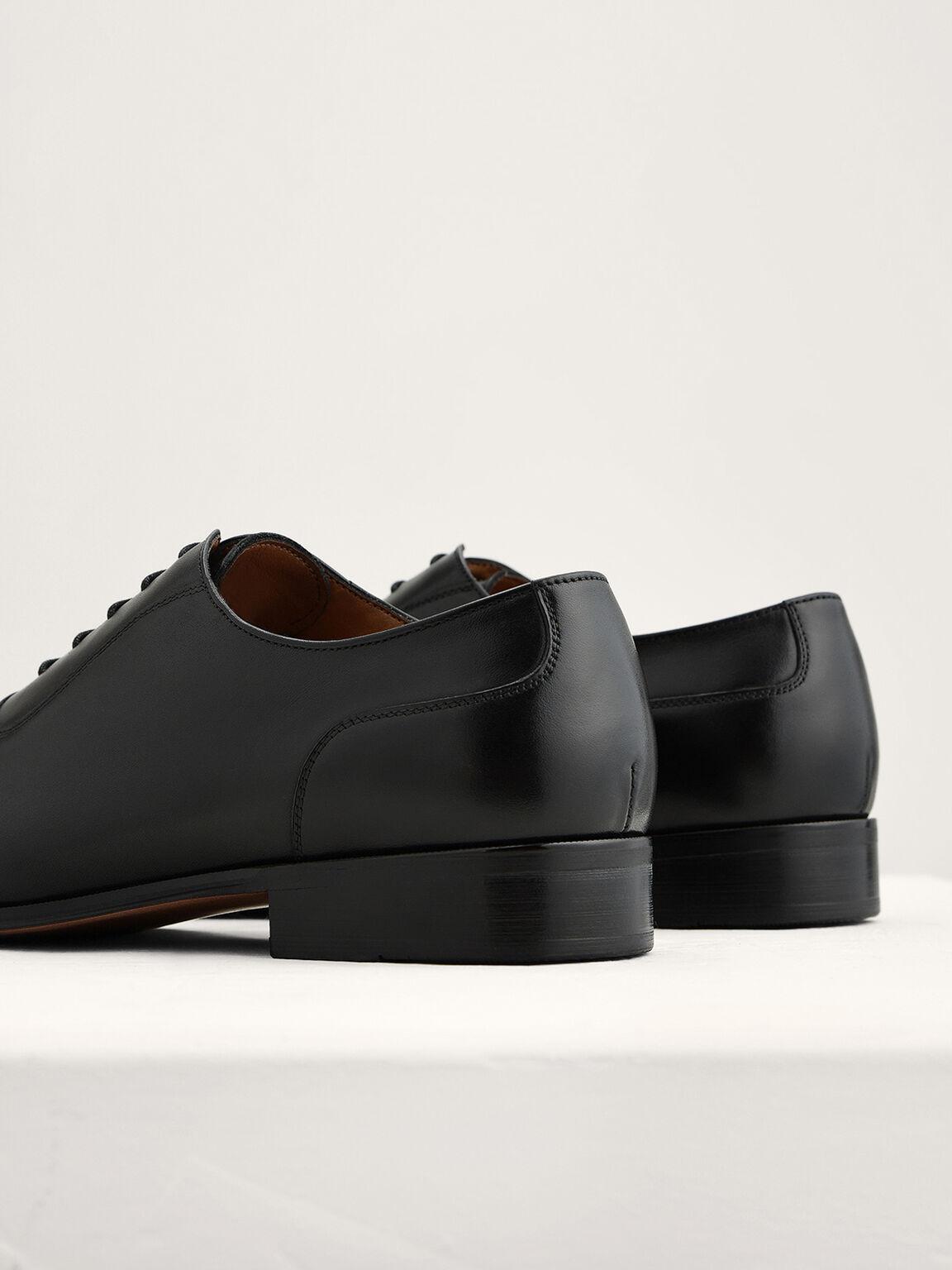 Leather Cap Toe Oxfords, Black, hi-res