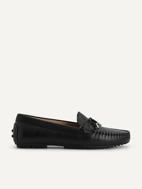 Lizard-effect Leather Bow Moccasins, Black, hi-res