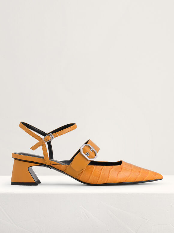 Croc-Effect Buckled Leather Heels, Mustard, hi-res