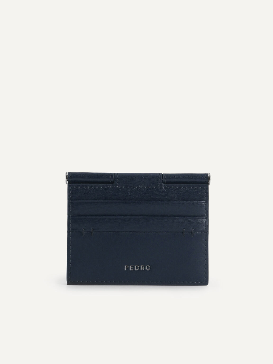 Textured Leather Flat Card Holder, Navy, hi-res