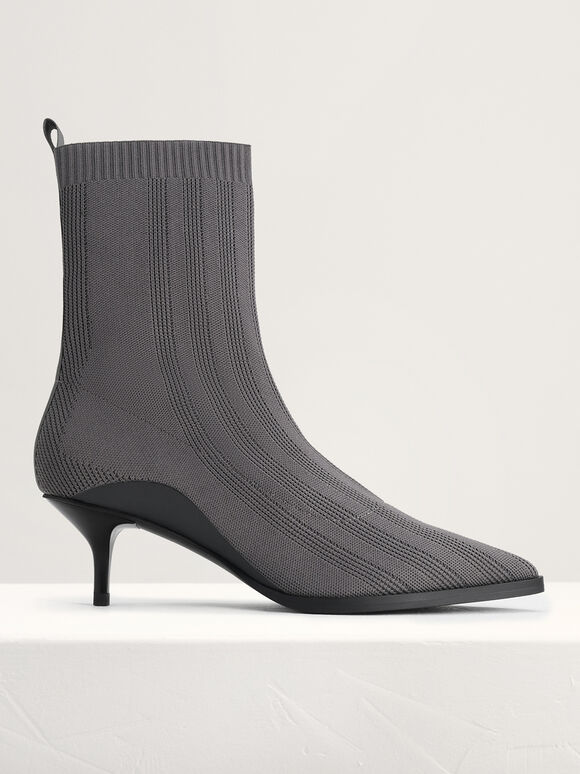Knit Sock Boots, Dark Grey, hi-res