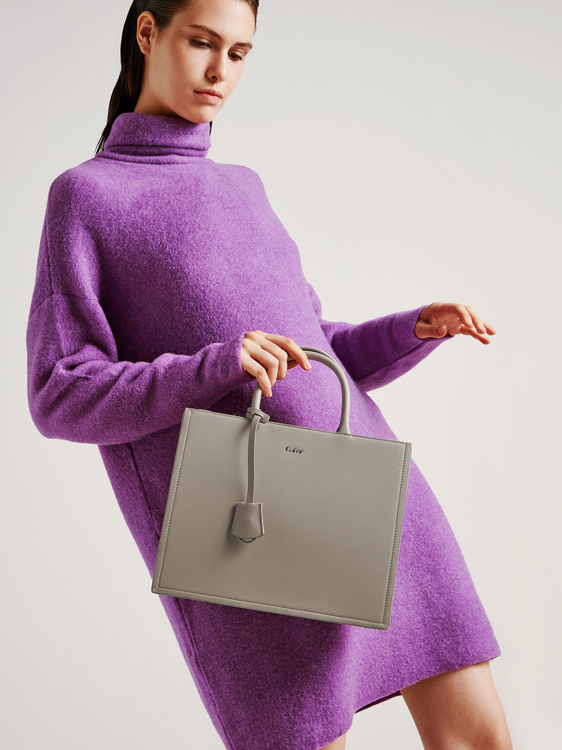 Top Handle Boxy Bag, Taupe, hi-res