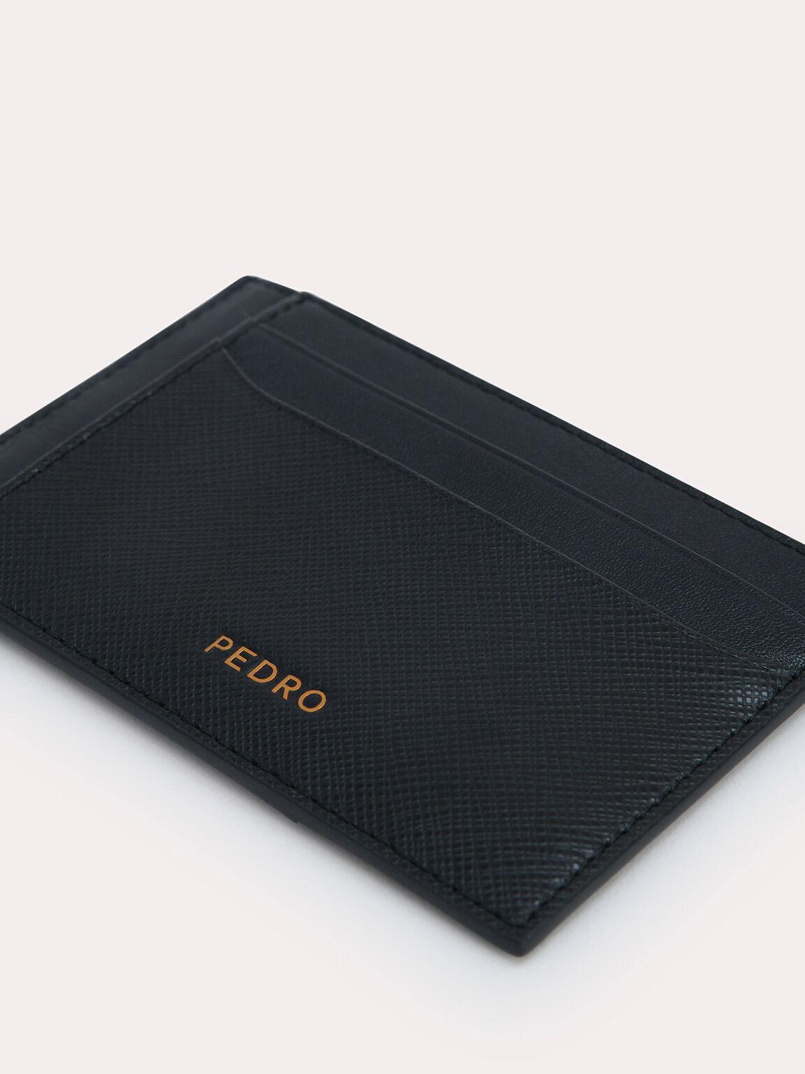 織紋皮革卡包, 黑色, hi-res