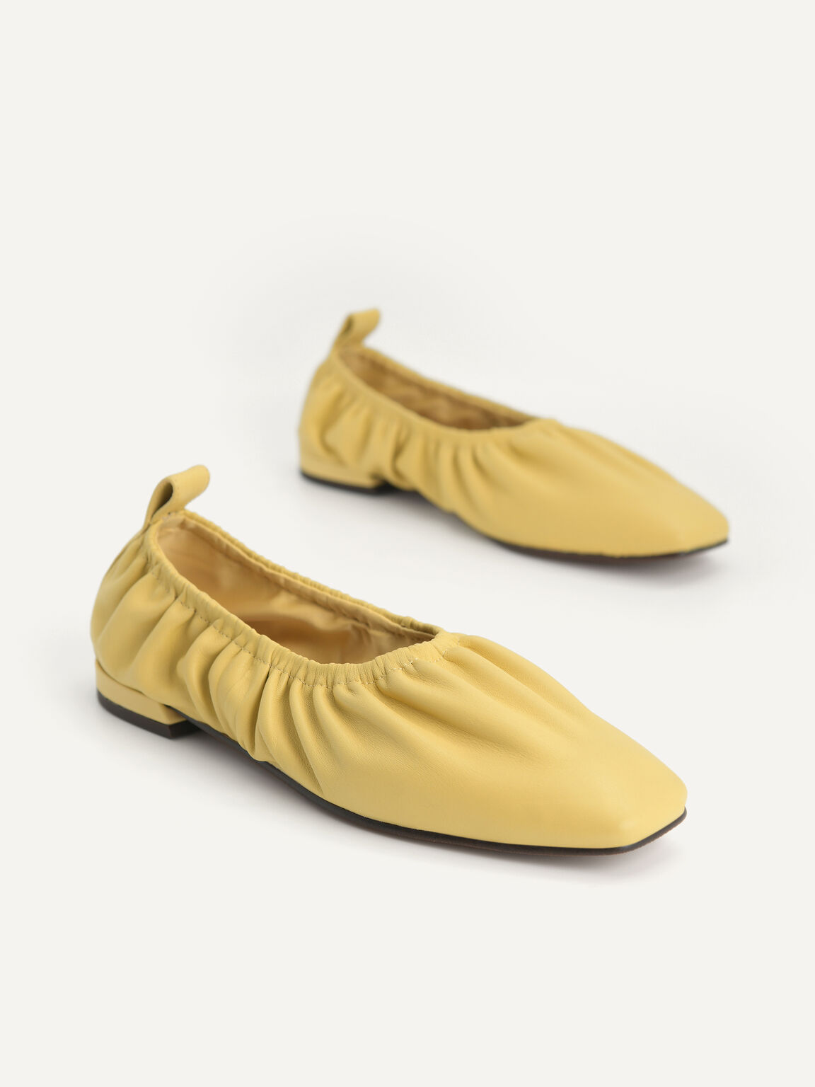 Ruched Leather Flats, Sand, hi-res