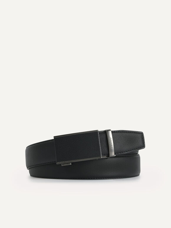 Textured Leather Automatic Belt, Black, hi-res