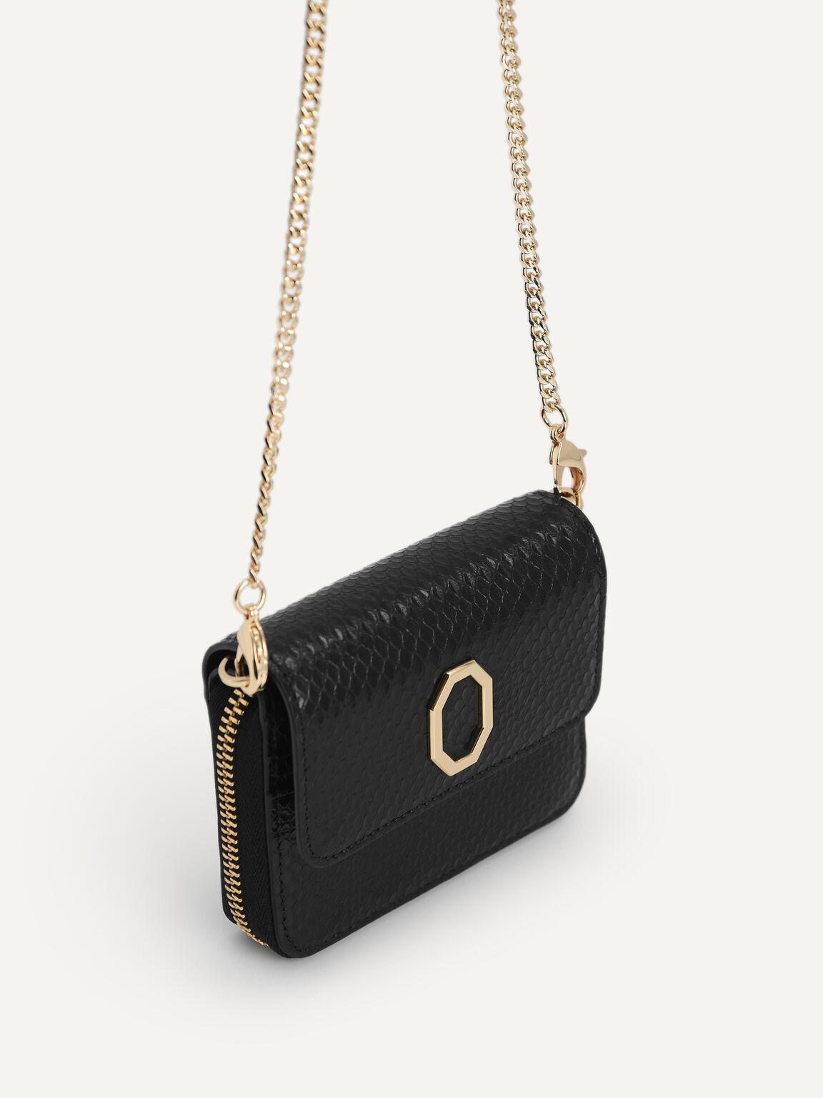 Embossed Leather Bi-Fold Wallet, Black, hi-res