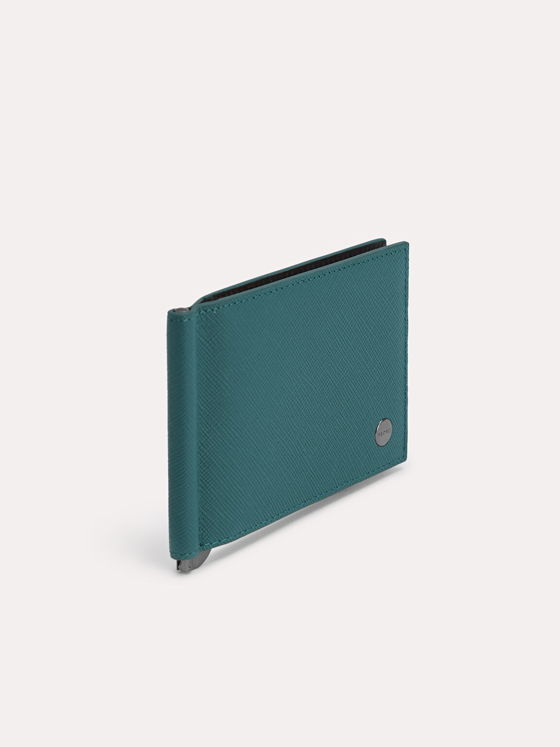 Leather Bi-Fold Card Holder with Money Clip, Dark Green, hi-res