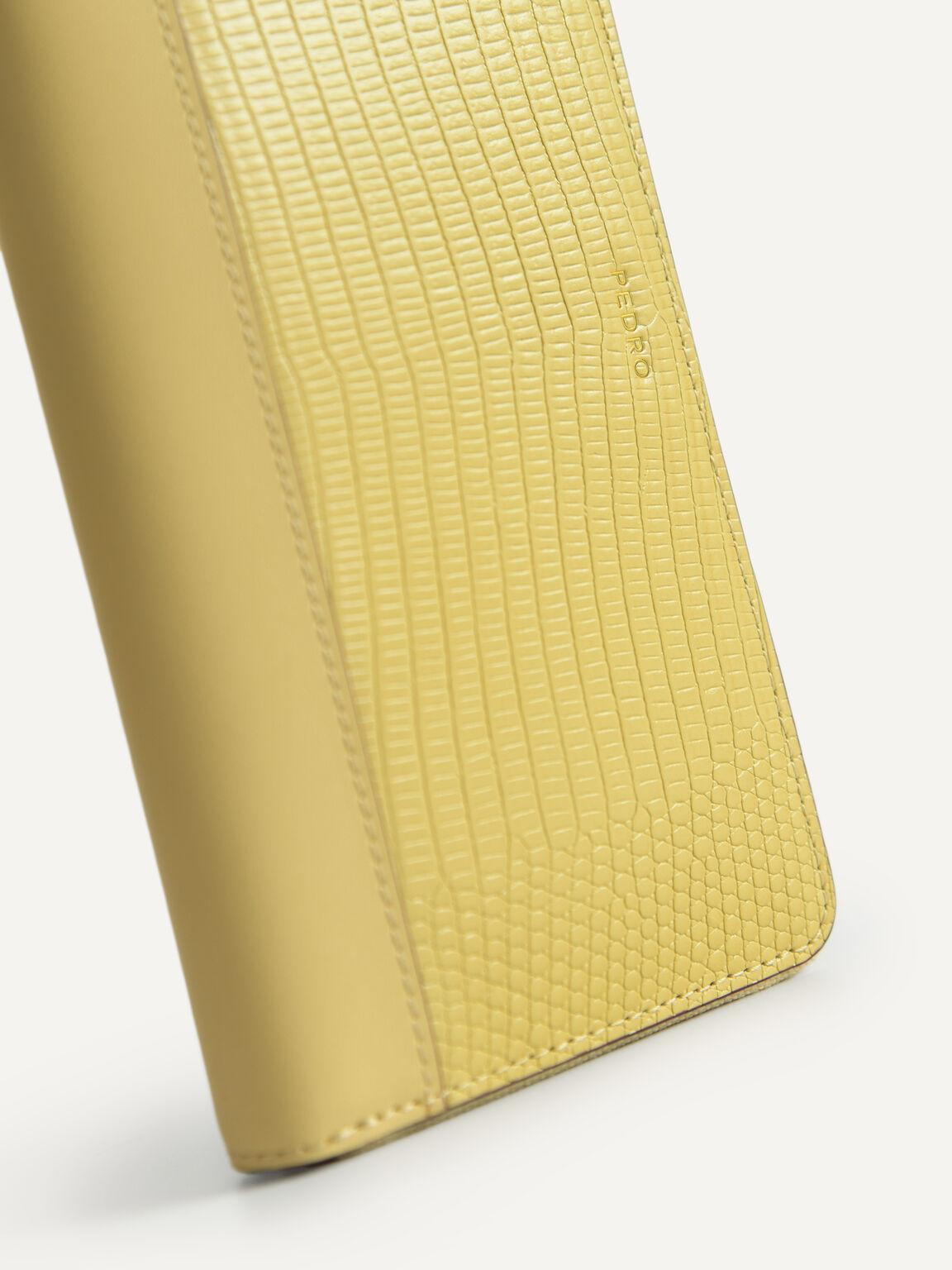 Lizard-Effect Leather Wallet, Sand, hi-res
