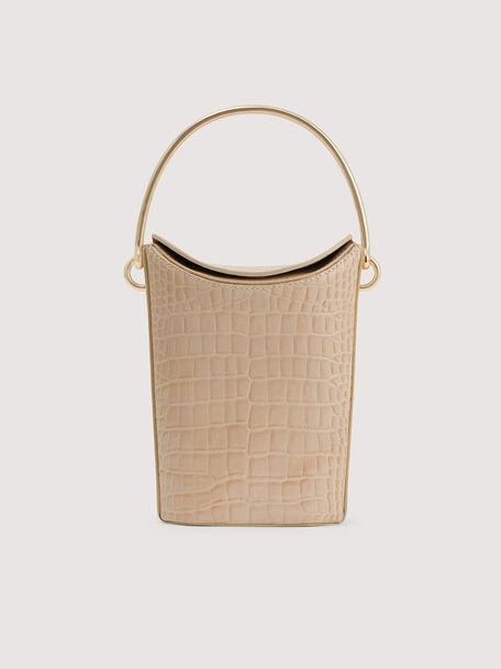 Embossed Leather Bucket Bag, Nude, hi-res