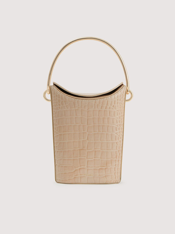 Embossed Leather Bucket Bag, Nude, hi-res