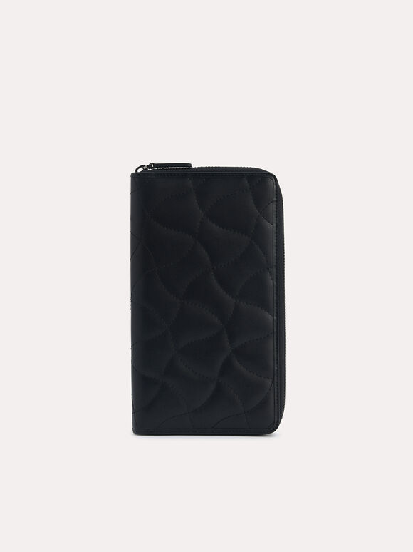 Quilted Leather Travel Organiser, Black, hi-res
