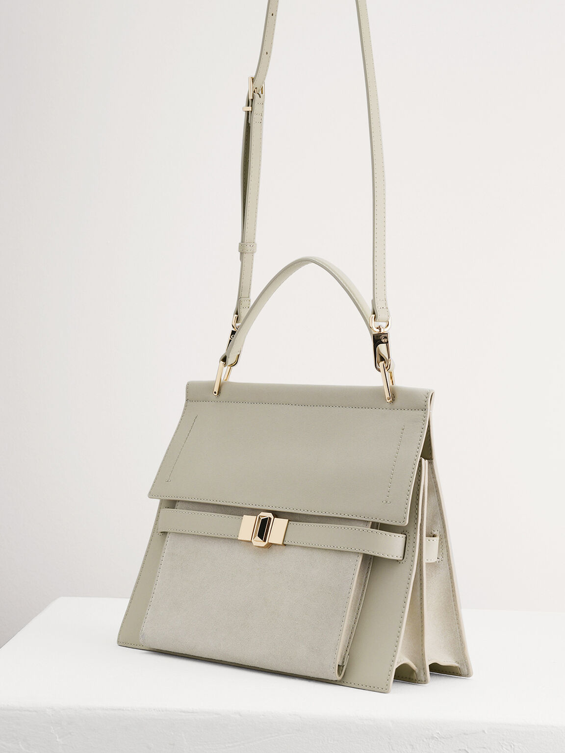 Leather Top Handle Bag, Taupe, hi-res