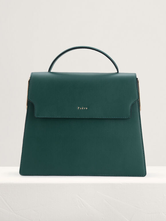 Top Handle Leather Bag, Green, hi-res