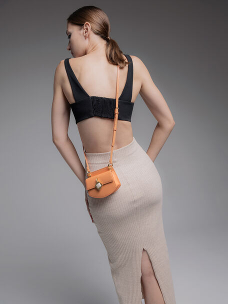 Micro Shoulder Bag with Marble Buckle, Orange, hi-res