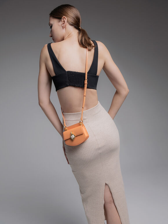 Micro Shoulder Bag with Marble Buckle, Orange, hi-res