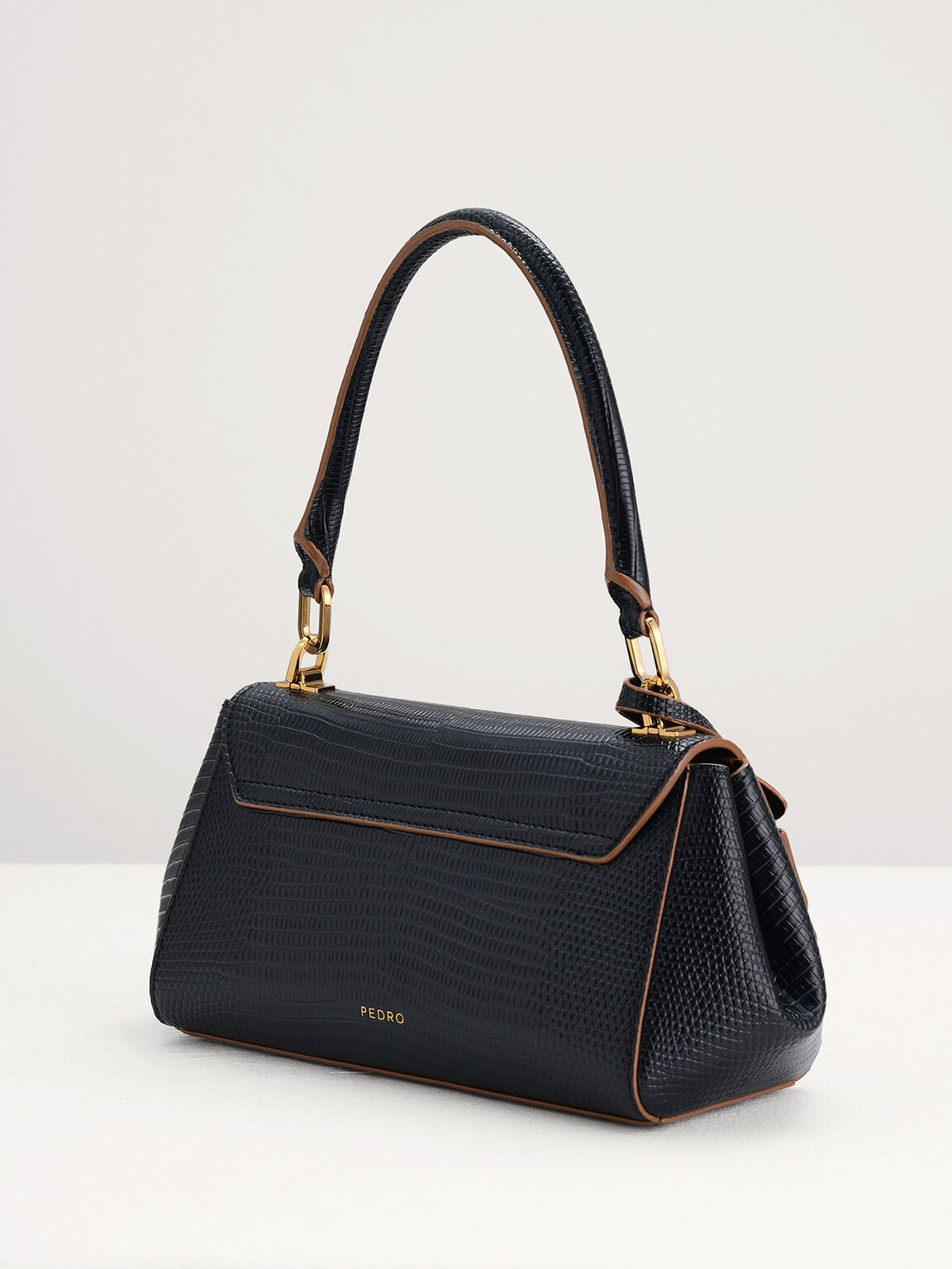 Lizard-Effect Top Handle Bag, Black, hi-res