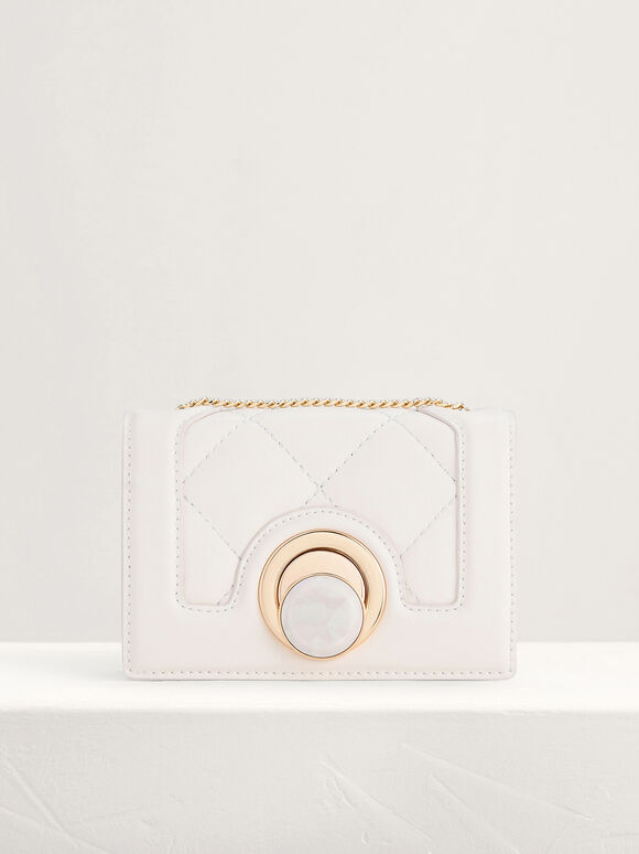 Micro Quilted Shoulder Bag, Cream, hi-res