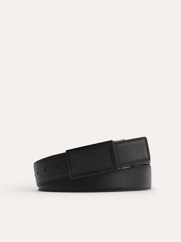 Leather Reversible Tang Belt, Black, hi-res