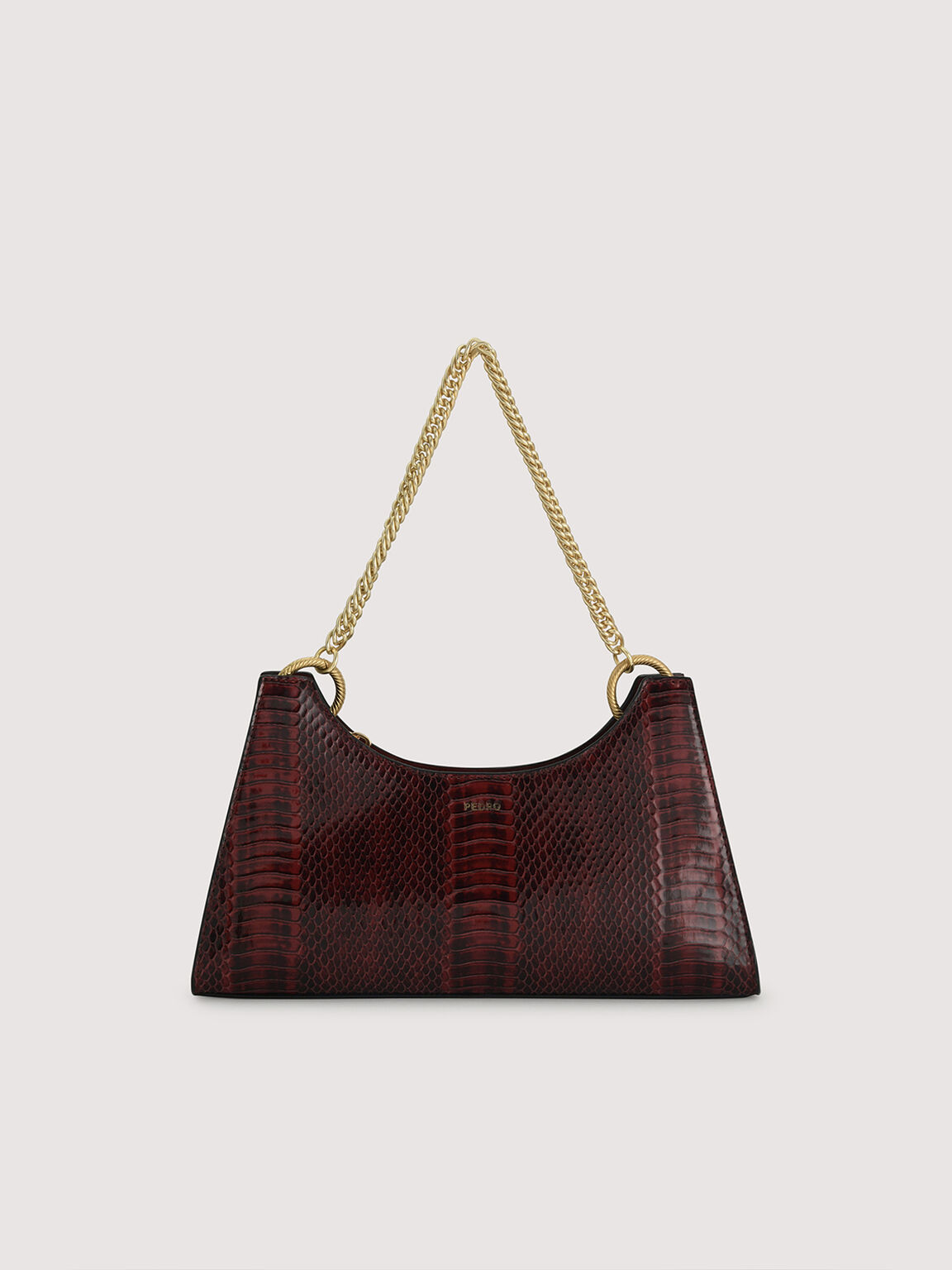 Snake-Effect Shoulder Bag, Mahogany, hi-res