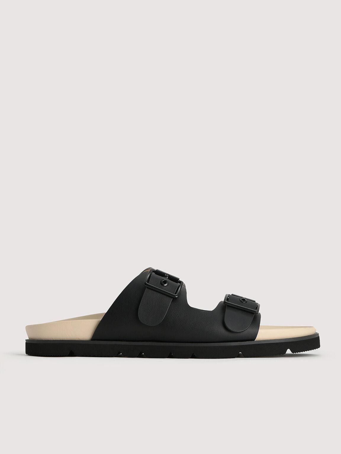 Buckled Sandals, Black, hi-res