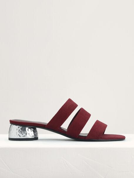 Strappy Heeled Sandals, Wine, hi-res