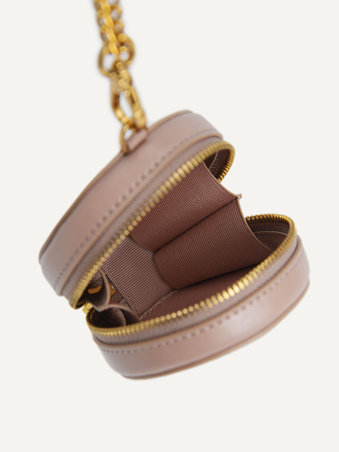 Mini Leather Pouch with Chain Handle, Taupe, hi-res