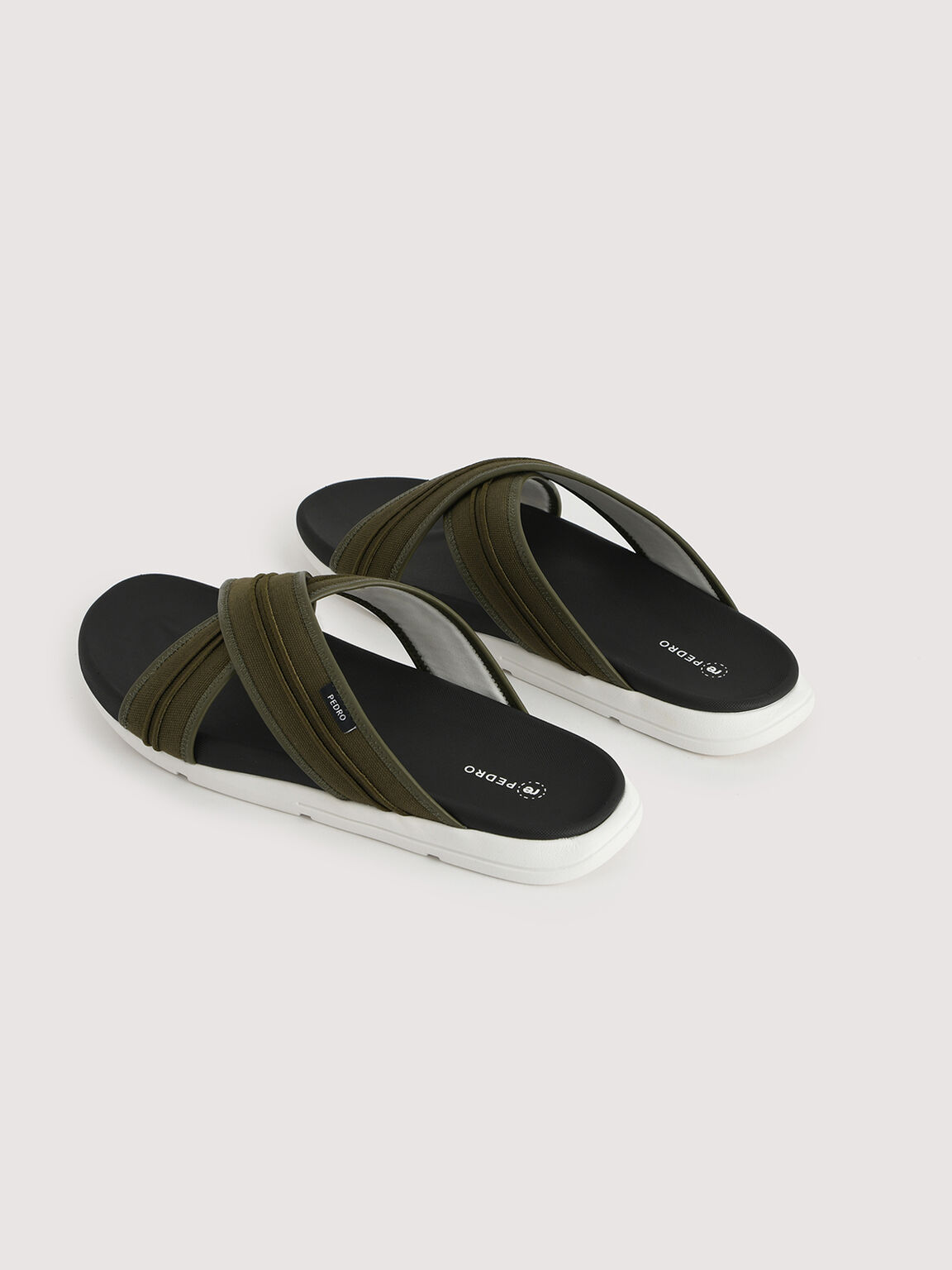Sustainable Criss-Cross Sandals, Olive, hi-res