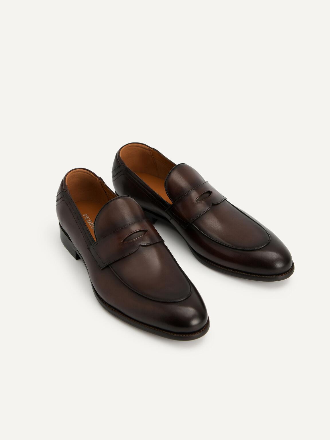 皮革便士樂福鞋, 棕色, hi-res