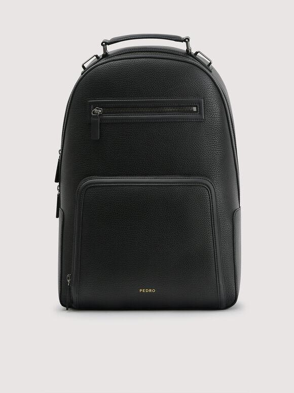 Embossed Backpack, Black, hi-res
