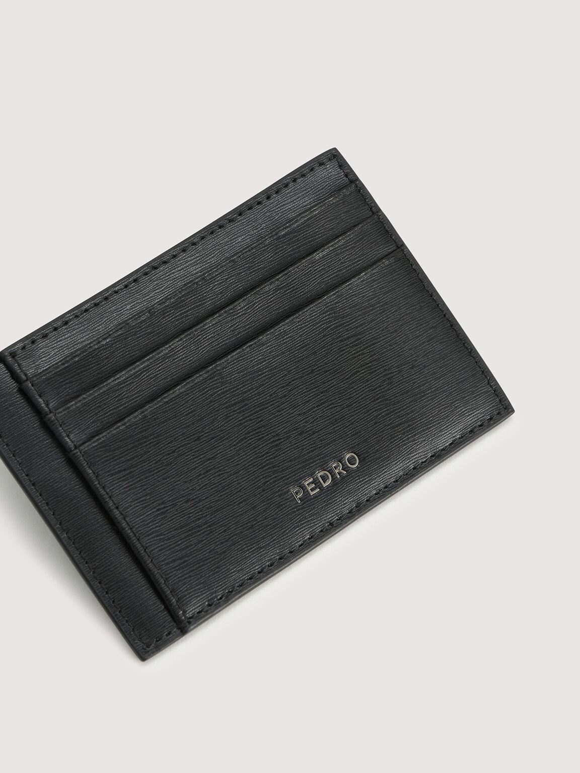 Leather Cardholder with Money Clip, Black, hi-res
