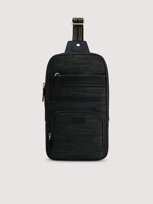 Sustainable Denim Sling Pouch, Black, hi-res