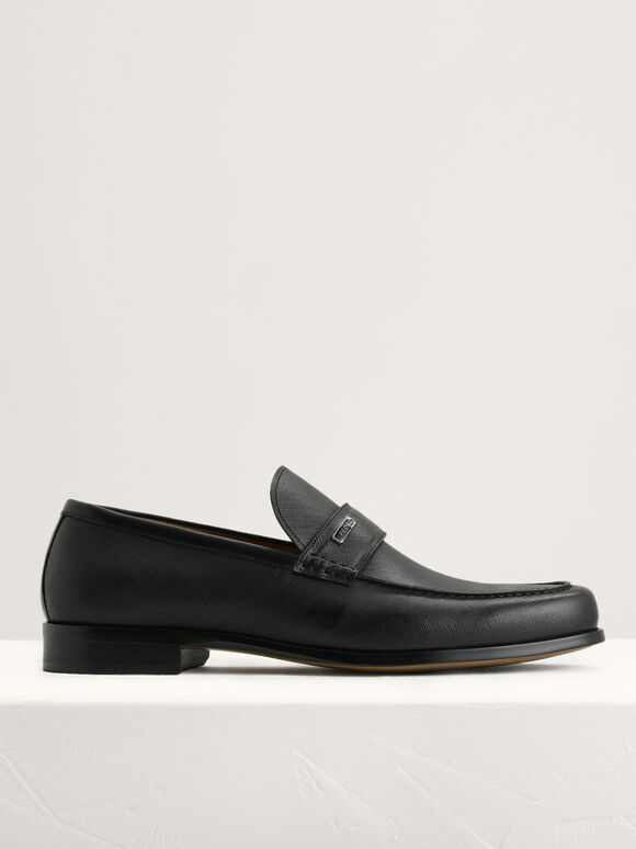 Textured Leather Loafers, Black, hi-res