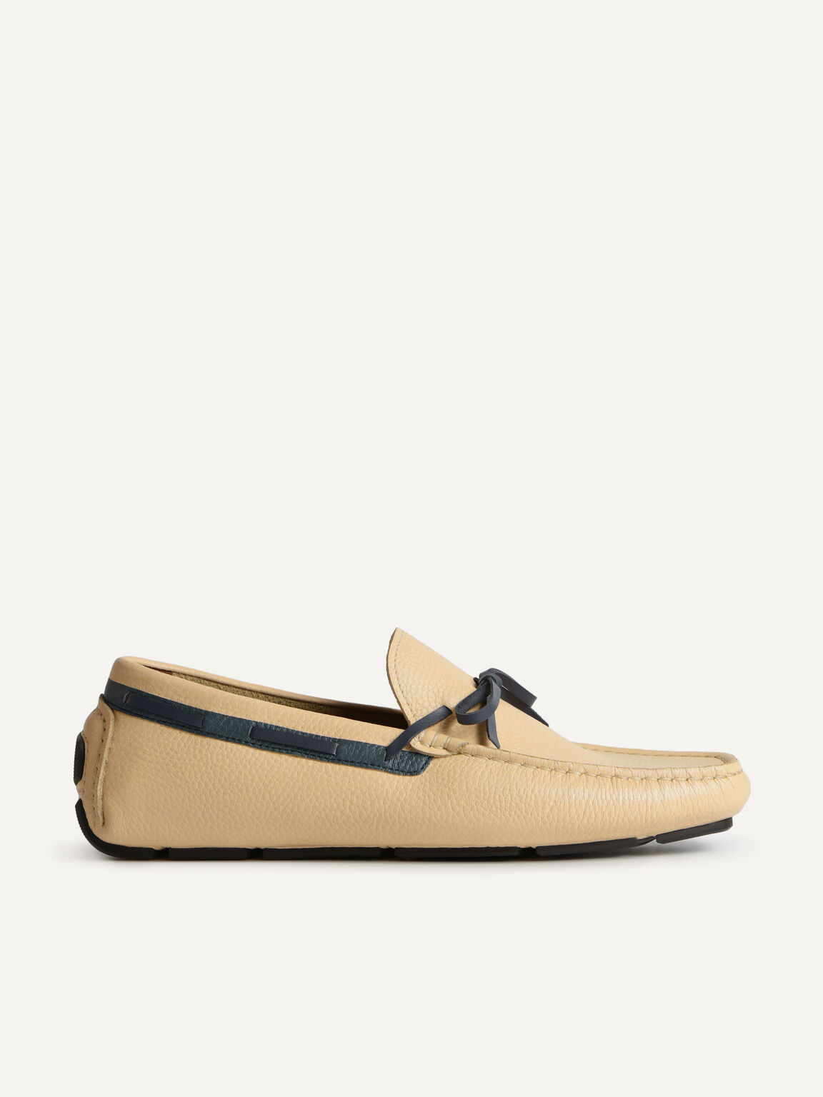 Textured Leather Moccasins with Bow, Beige, hi-res