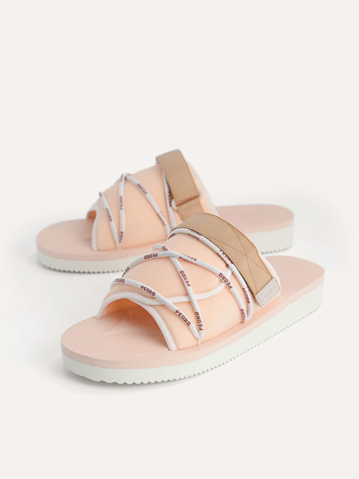 Casual Slides with Lace Detail, Nude, hi-res