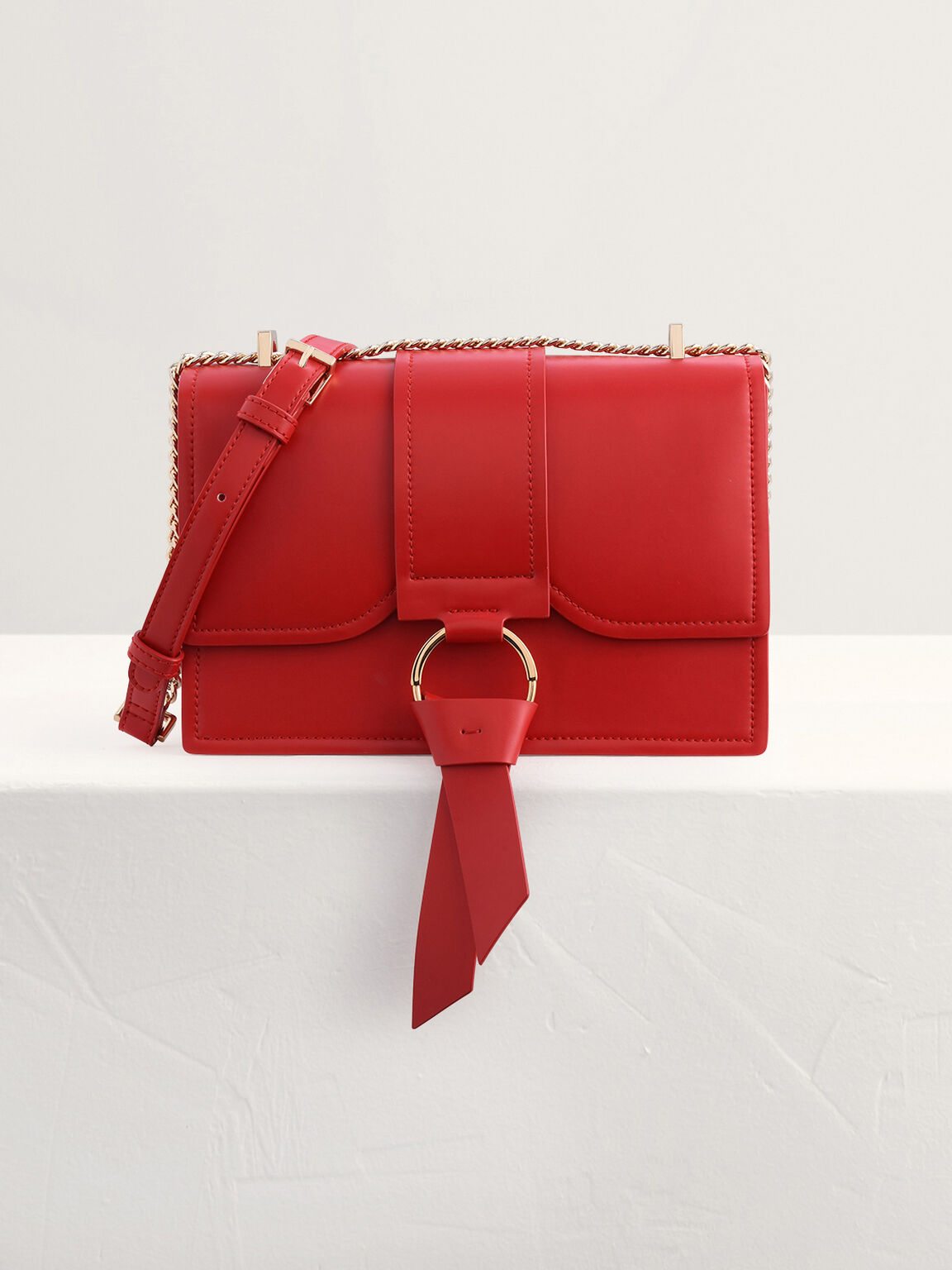 Boxy Shoulder Bag with Knotted Detail, Red, hi-res