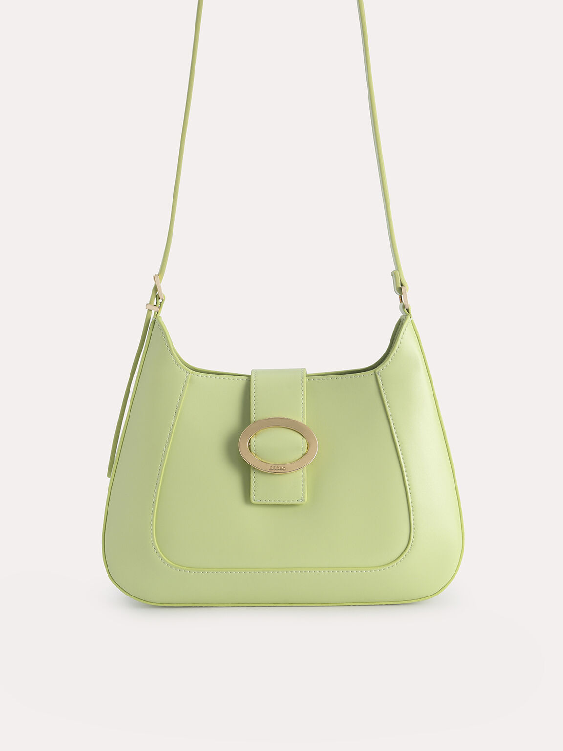 Top Handle Bag with Oval Buckle, Light Green, hi-res
