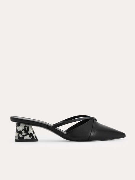 Leather Pointed Heeled Mules, Black, hi-res
