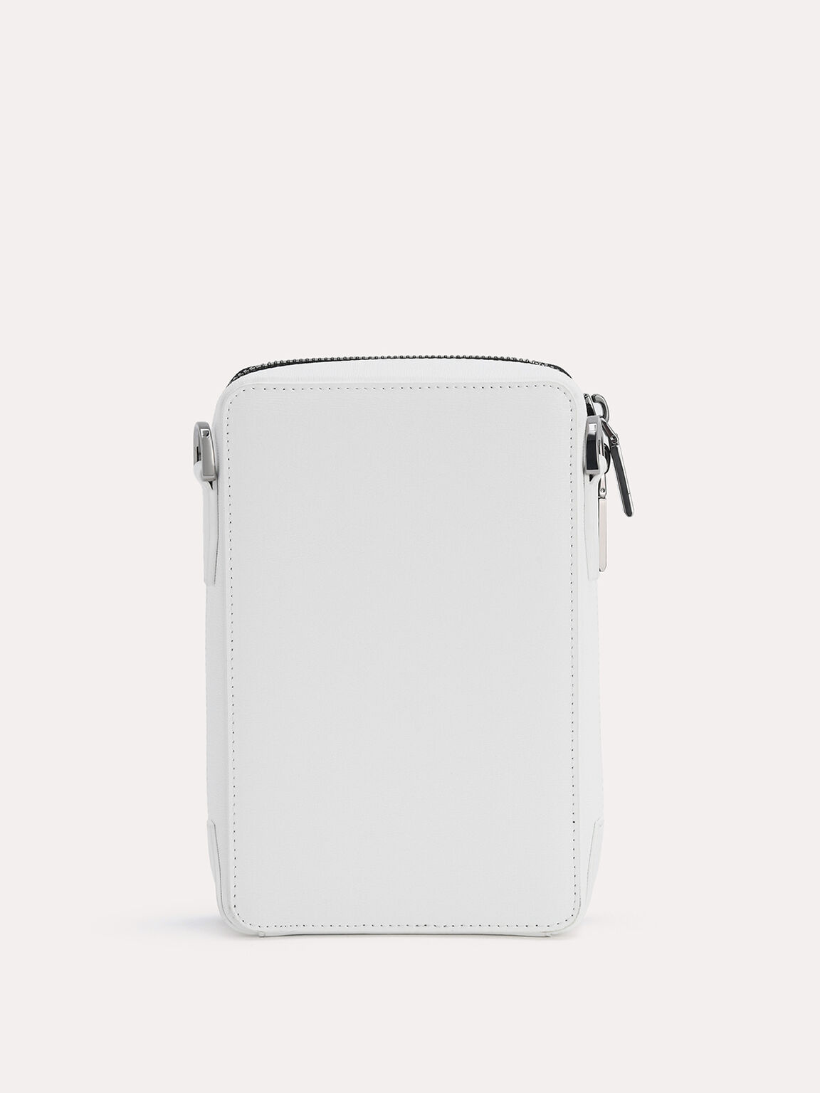 Textured Leather Phone Pouch, White, hi-res
