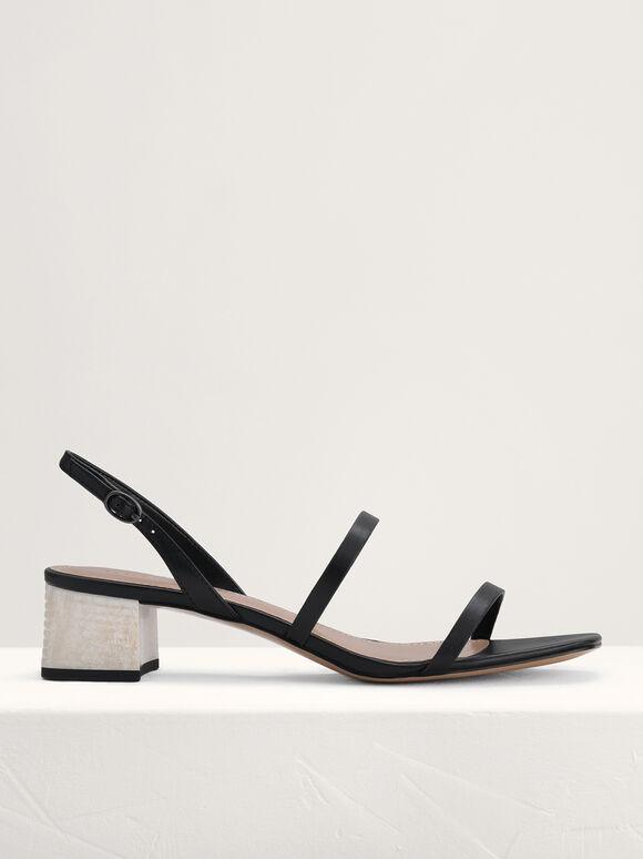 Square Toe Heeled Sandals, Black, hi-res